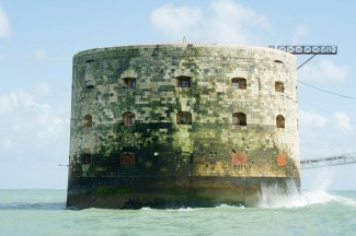 Sea laps against Fort Boyard