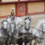Roman chariot with white horses Puy du Fou